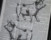 BOGO SALE Pigs Upcycled Dictionary Wall Art Vintage Dictionary Book Page Dictionary Art Prints Print on Dictionary Page