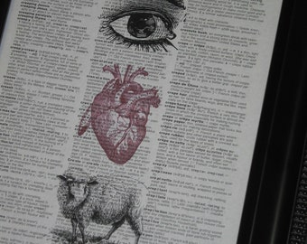Reserved Listing Upcycled Dictionary Art Book Page Print A HHP Original Design Eye Heart Ewe (I Love You) Print on Vintage Dictonary