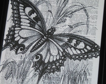 BOGO SALE Butterfly Dictionary Art Print Upcycled Book Page Art Stunning Butterfly Print on Vintage Dictionary Page 8 x 10