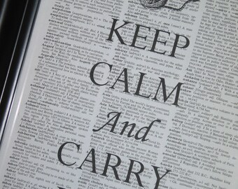 BOGO SALE Keep Calm and Carry Yarn Print on a Vintage Dictionary Book Page 8 x 10
