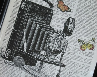 BOGO SALE Dictionary Art Prints Camera with Butterflies Art Print on a Vintage Dictionary Book Page A HHP Origial Design  8 X 10