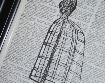 Upcycled Book Art Antique French  Dress Form Print on a Vintage Dictionary Book Page 8 X 10