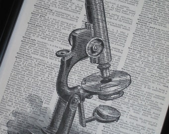 BOGO SALE Upcycled Dictionary Art Print Microscope on Vintage Dictionary Book Page