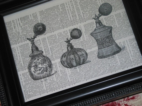 Upcycled Art Book Print French Antique Perfume Bottles on Vintage Dictionary Page   8 x 10