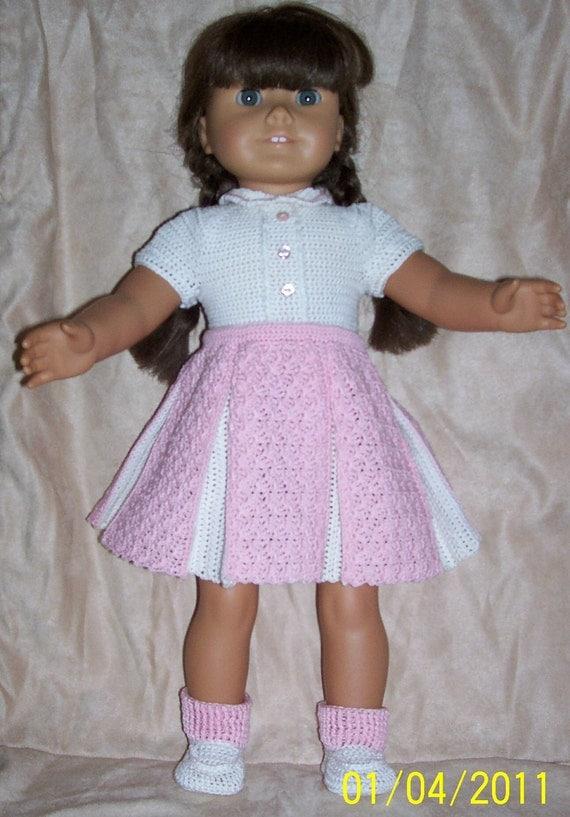 Easy Crochet Doll Skirt Pattern : 108 Pink Pleated Skirt Set Crochet Pattern for American Girl