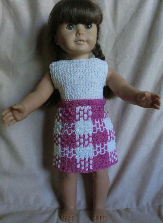 158 Plaid School Skirt Set  -  Crochet Pattern for American Girl Dolls