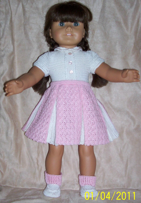 Crochet Pattern Central American Girl : 108 Pink Pleated Skirt Set Crochet Pattern for American Girl