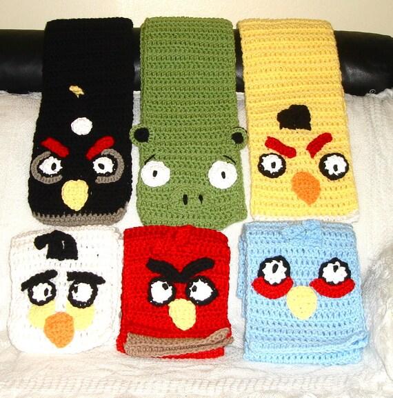 Crochet Scarf, Green Pig, Red Bird, Black Bird, Blue, Women, Men , Children, Hat, Teen