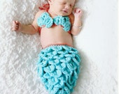 Newborn Crochet Mermaid Tail and Shell Top - Aqua With a Coral Accent - Made to Order - Photography Prop