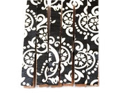 Black and white damask decorative clothespins