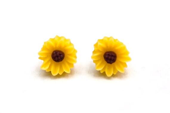 Yellow sunflower stud earrings