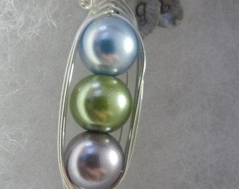 Three Sweet Peas in a Pod  Pea Pod Necklace (2, 3, or 4 peas- pick your color)