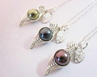 Sweet Pea in a Pod Necklace (You Pick Your Color)