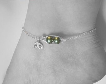 Set of 2 Anklets - Sweet Peas in a Pod Anklet