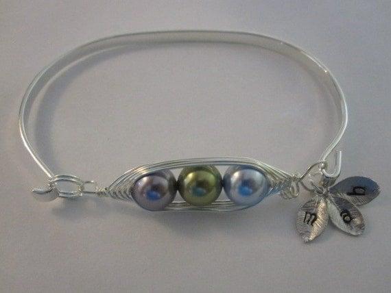 Sweet Pea Pod Bangle Bracelet