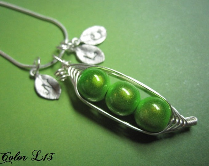 Featured listing image: My Sweet Pea Pod (2, 3, or 4 peas)- you pick your colors for your personalized pea pod charm necklace for You, Mom, Sister, Daughter, Friend