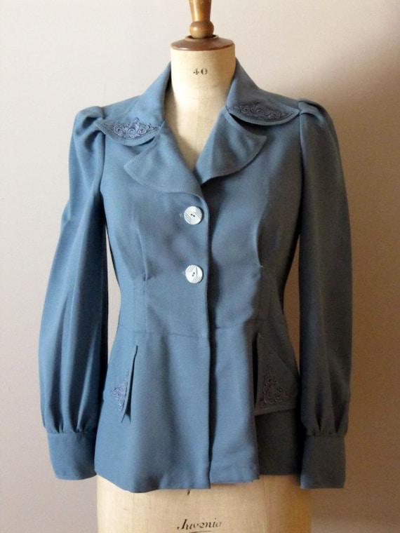 vintage 70s does 40s blue jacket