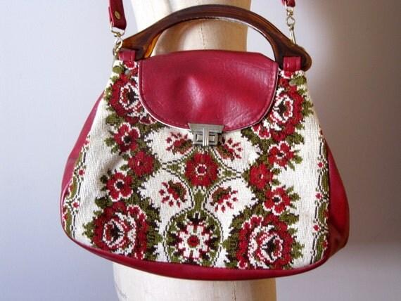 vintage 70s wool maroon/red floral tapestry/carpet bag