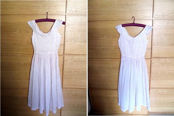Vintage 1930's sheer white organza sailor dress with flocked pastel polka dots