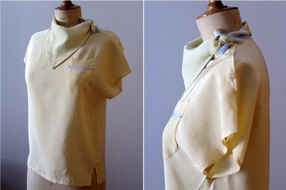 vintage 1950s canary yellow and blue blouse