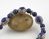 Lapis and Bali Sterling Silver Bracelet - Jewelry by Lunar Blue Designs