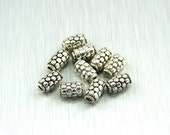Silver-Plated Tube Beads, 9x5mm, Package of 10, for Jewelry