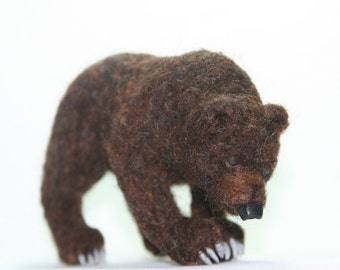 Needle Felted Grizzly/Brown Bear with Claws