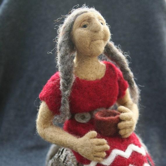 Needle Felted Old Native American Woman