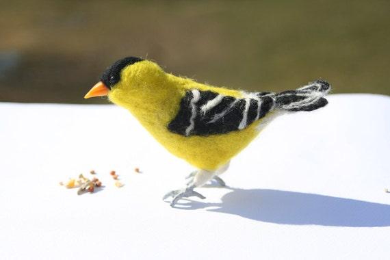 Needle Felted Lifesize Male Goldfinch (Birds of Ohio), Black, Yellow and White with Orange Beak