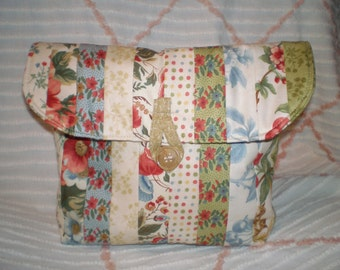 Quilted Cosmetic Bag, Toiletry Bag, Cosmetic Tote, Cream Floral Travel/Cosmetic Bag