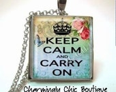 Vintage Inspired Keep Calm and Carry On (166 Rainbow) Necklace Glass Tile Charm Pendant