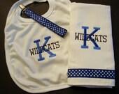 Custom University of Kentucky Bib Burp cloth and pacifier holder