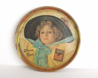 Vintage 70s Satin Cigarette Advertising Serving Tray