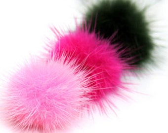 100pcs Wholesale 30mm Mink Fur Ball - 7 Colors - black, white, gray, red, hotpink, pink and  purple