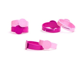 10pcs 8mm Pad - Resizable Ring Blanks - Pick Your Color - Hot Pink and Pink