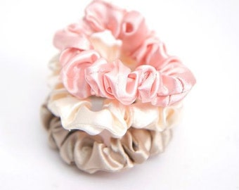 2PCS(1 Pair) Satin Fabric Scrunchie - Pick Your Color - 6 Different Colors