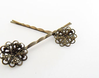 60mm Filigree Bobby Pin with 18mm Pad Antiqued Brass