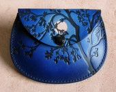 Leather coin purse , moon behind tree in blue