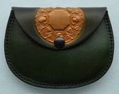 Leather Coin Purse..Mandalla on Moss Green
