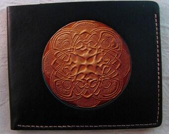 Mens Leather Wallet , tan mandala on black