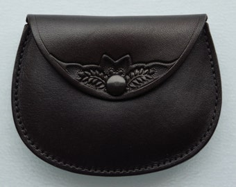 Leather Coin Purse..Snap Tooled Black