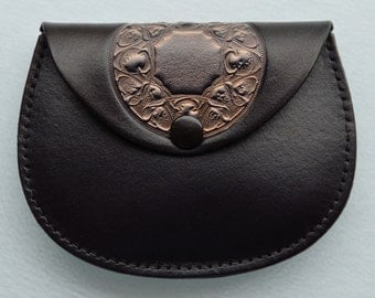 Leather Coin Purse...Pewter Colour Mandalla on Black