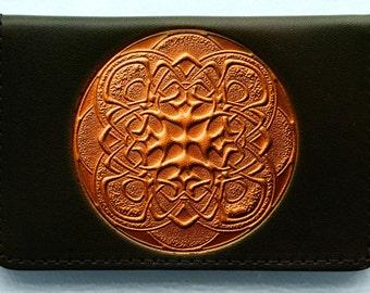 Business Card Case..Bronze Coloured Mandalla on Black