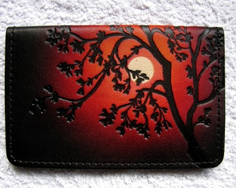 Leather Business Card Case / Tree / Red/Orange Sky