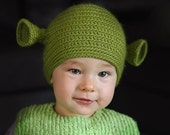 Baby 6-12 months size. Hand crocheted green ogre shrek beanie,  ready for shipping.