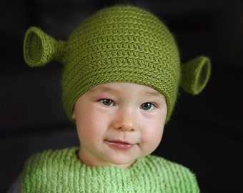 Child 5-8 years size. Hand crocheted green ogre shrek beanie,  ready for shipping.