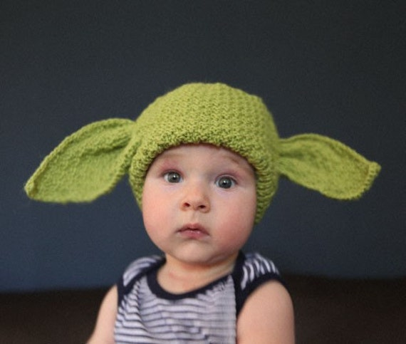 Knitting Pattern For Baby Yoda Hat : Baby Yoda Hat in Green Original knit Star Wars by knitterkrys