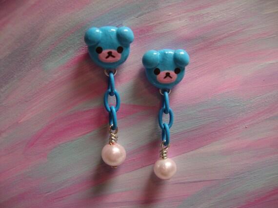 Kawaii Bear Earrings - Post Stud Dangle - Baby Blue & Pink Pearl - Sweet Lolita Kawaii Fashion