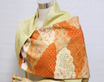 SILK SHAWL SCARF 005 from vintage Japanese kimono silk - bright green/wild goose in traditional flowers