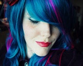 Deep Sea Dreamer // Deep Blue with Neon Violet Streaks // Long Curly Layered Wig